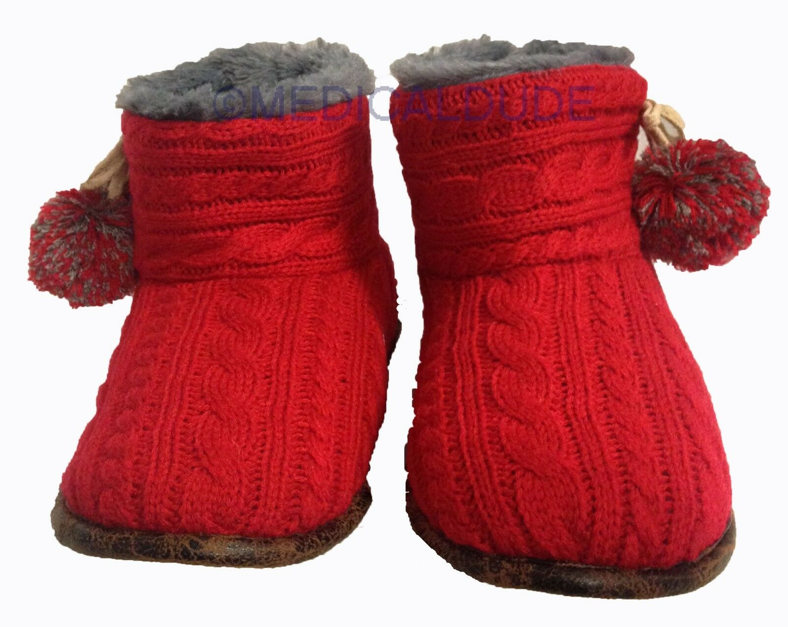 PJ Couture Womens Cable Knit Bootie Indoor/Outdoor Slippers Red Large 9/10 - NWT
