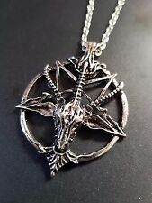 Baphomet Devil Satan Goat Head & Pentagram -  Pendant Necklace on Silver Chain