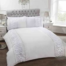 Item 2 Modern Ruffle Frilly Duvet Cover Pillowcase Bedding Set Flamenco Grey White