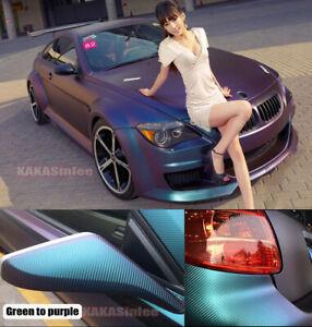 "*12/""x60/"" 3D Matte Purple Carbon Fiber Textured Car Vinyl Wrap Sticker Decal Film"