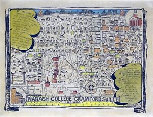 Wabash College Campus Map.1928 Pictorial Map Poster Wabash College Campus Crawfordsville
