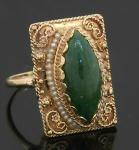 Antique 14K gold 19 X 8.5mm Marquise cabochon Jadeite/pearl cocktail ring size 8