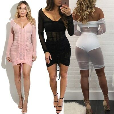 Sexy Sheer Mesh Pleated Short Dress Women Backless Party Bodycon Deep V Clubwear