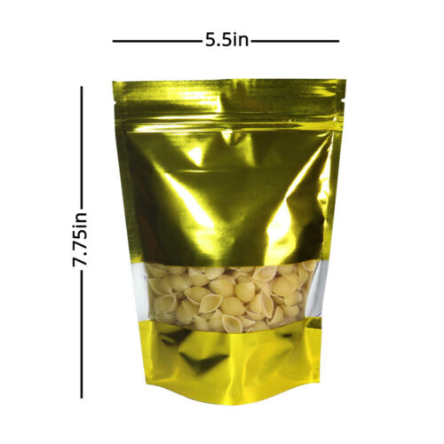 Many Sizes for Gold Foil Mylar Stand up Zip Lock Bag w// Clear Front Window M17