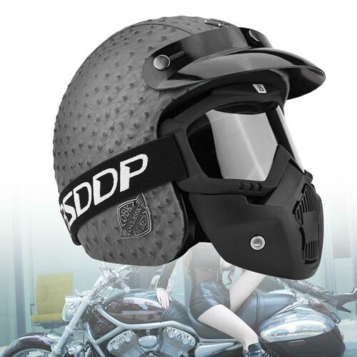 Motorradhelm HELMET MOTORRAD Retro BRILLE Visier PU-Leder Sturzhelm Schutz L HOT