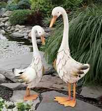 Duck Pair Statues Handcrafted Metal Garden Art Sculpture In/Outdoor Birds Pond
