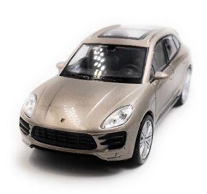 Porsche-Macan-Turbo-Tous-Terrains-Modele-Auto-Gris-Or-Masstab-1-3-4-Licence