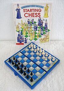 Magnetic Folding Schoolhouse Chess Set+ Usborne First Skills Book Starting Chess