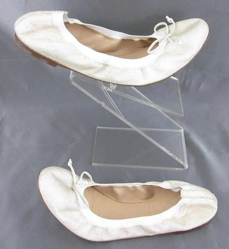 J. Crew 'Ava Glitter' Ballet Bow Flats Champagne Cream Size 7  135.00 Worn Twice