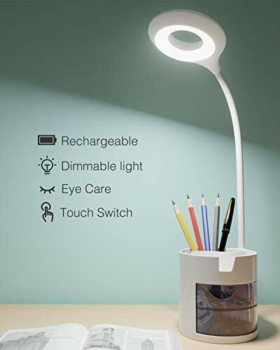 Lámpara Escritorio LED, Flexo LED escritorio 3Niveles de Brillo Panel Táctil