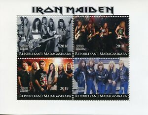 Madagascar-2018-CTO-Iron-Maiden-Heavy-Metal-Band-4v-M-S-Music-Guitars-Stamps