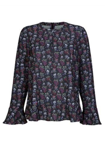 Dress en tunique Taille 46 Noir Coloré Manches Longues Fleurs chemisier volants NEUF