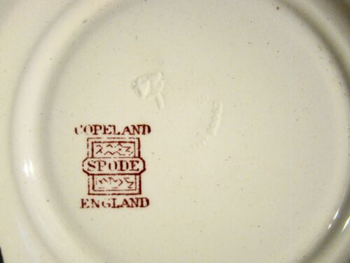 """Antique Copeland Spode Red Transfer Flowers Pattern Bread Plates 5 1//2/"""" 1925-26"""