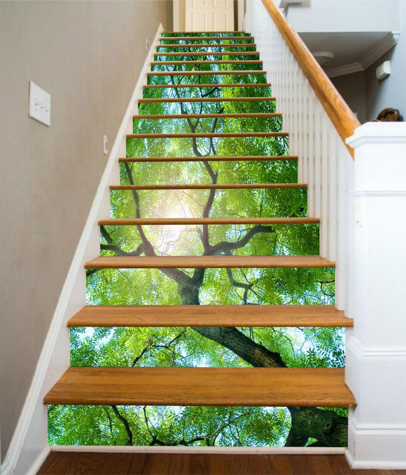 3D Grner Baum 012 Stair Risers Dekoration Fototapete Vinyl Aufkleber Tapete DE