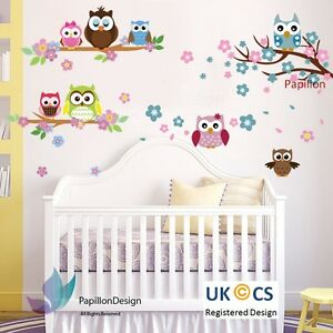 Cherry-Tree-Flower-Beautiful-Owls-nursery-Kid-Baby-Girl-Boy-wall-Decal-sticker