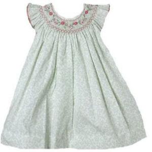 Posh-Sweet-Beautiful-Angel-Sleeve-Green-Floral-Petit-Ami-Gold-Girl-Smocked-Dress