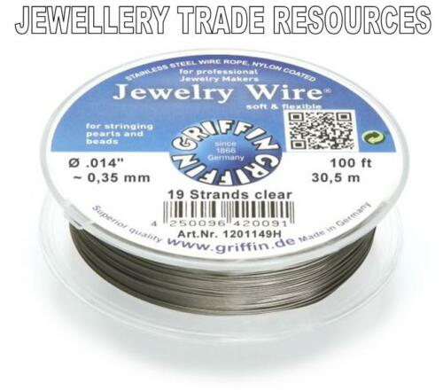 """0.35mm 100 FT 19 STRAND GRIFFIN NYLON COATED STEEL BEADING /& PEARL WIRE .014/"""""""