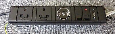 100% Vero Bench Montabili Pdu Con 2 X Prese Uk 2 X Porte Usb 2 Porte Rj45 X 1 X Hmdi-