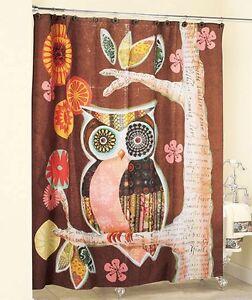 Owl Friend Colorful Vibrant Floral Bathroom Bath Decor Fabric Shower Curtain