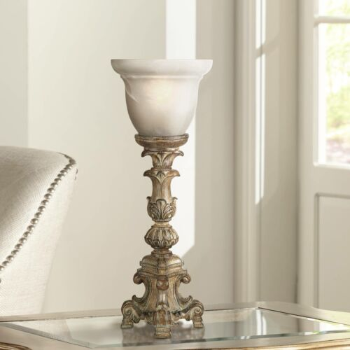 French LED Uplight Table Lamp Candlestick Beige Glass Shade for Living Room Desk