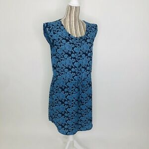 Cabi 5265 Java Floral Blue Drawstring Waist Shift Mini Dress Small Womens