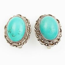 Antique Vintage Art Deco Sterling Silver Chinese Export Blue Turquoise Earrings