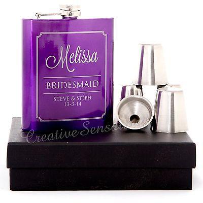 Engraved 7oz Purple Wedding Hip Flask Gift Set Personalised Bridesmaid Present