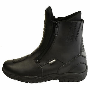 Oxford-Comanche-Motorcycle-Motorbike-Leather-Waterproof-Boots-Double-Dual-Zip-T