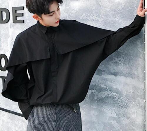 Fashion Hommes Manteau Shirts Noir Revers de la jeunesse coréenne Slim Daily Occasion TRENDY