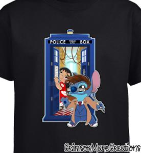 Lilo-and-Stitch-Dr-Who-David-Tennant-Cotton-T-Shirt-Kids-Ladies-Mens-Sizes
