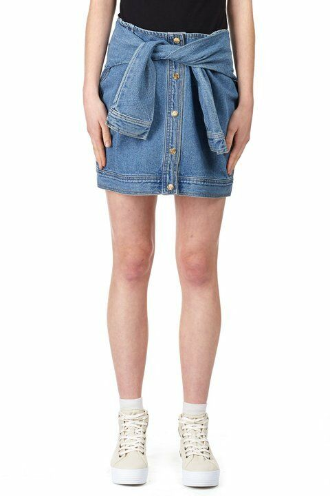 DKNY FOR OPENING CEREMONY blueE DENIM FAUX SLEEVES BUTTONED MINIO SKIRT-SIZE S