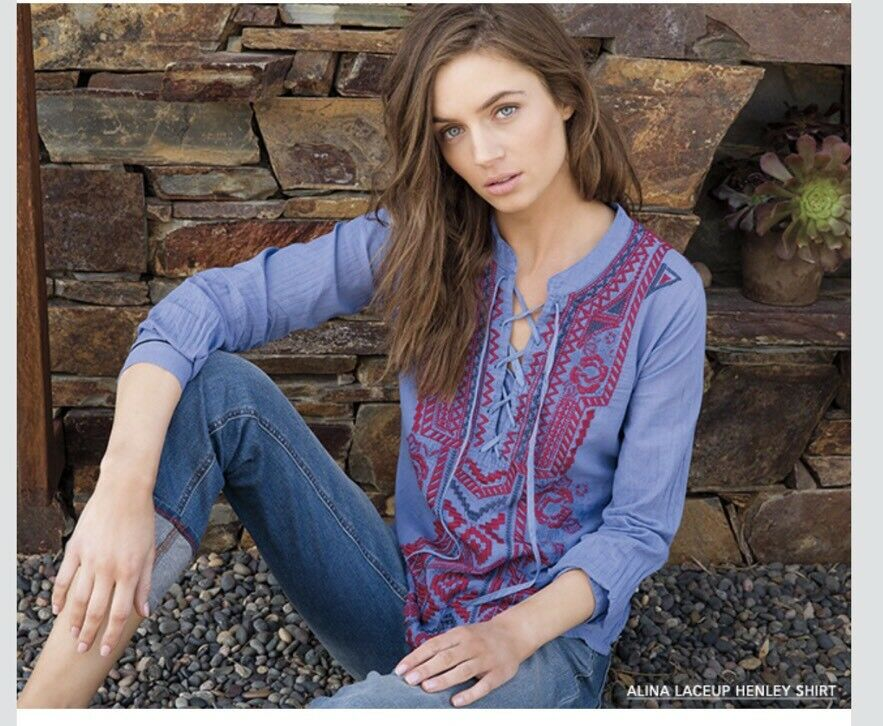NEW JOHNNY WAS 3J WORKSHOP ALINA LACEUP STRIPE HENLEY TOP BLOUSE S