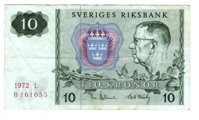 SWEDEN Sveriges 10 Kronor VF Banknote (1972 L) P-52c Paper Money B Prefix