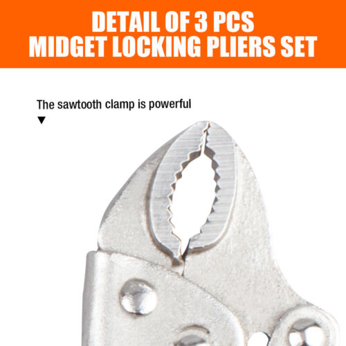 "3PC Mini Vise Locking Pliers Set Professional 5/"" 4/"" C Clamp Curve Welding Holder"