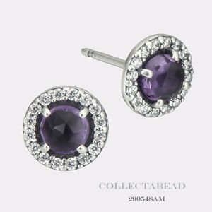 Image Is Loading Authentic Pandora Silver Amethyst Glamorous Stud Earrings 290548am