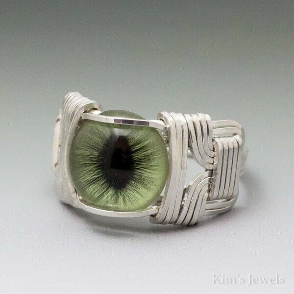 Green Glass Cat Eye Eyeball Cabochon Sterling Silver Wire Wrapped Ring ANY Size