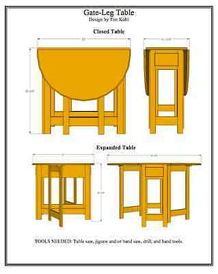 Gate-Leg Table Woodworking Plans