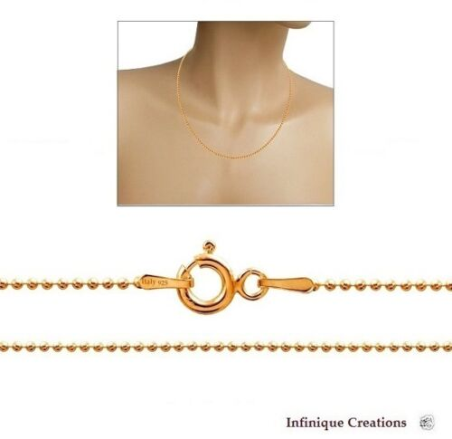 """14k Gold Over STERLING SILVER Smooth Shiny Italian Ball Bead Chain 1.3mm 16-30/"""""""