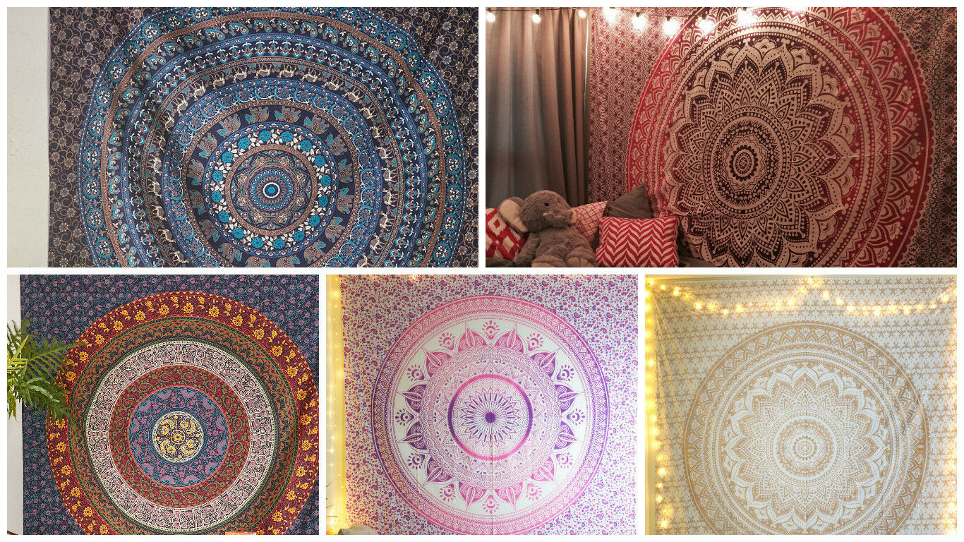 INDIAN TWIN HIPPIE MANDALA TAPESTRY WALL HANGING BED SHEET WHOLESALE LOT 5 PC
