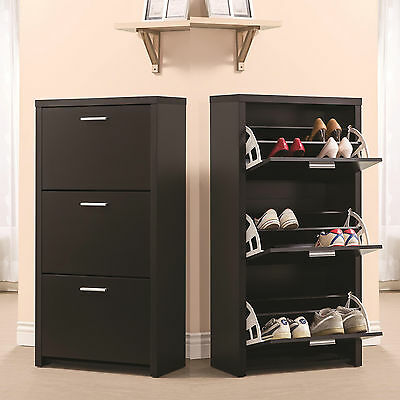 e735a82d740 Black Wooden Tall 3-Drawer 12 Pair Shoe Organizer Cabinet Storage Rack Shelf  New
