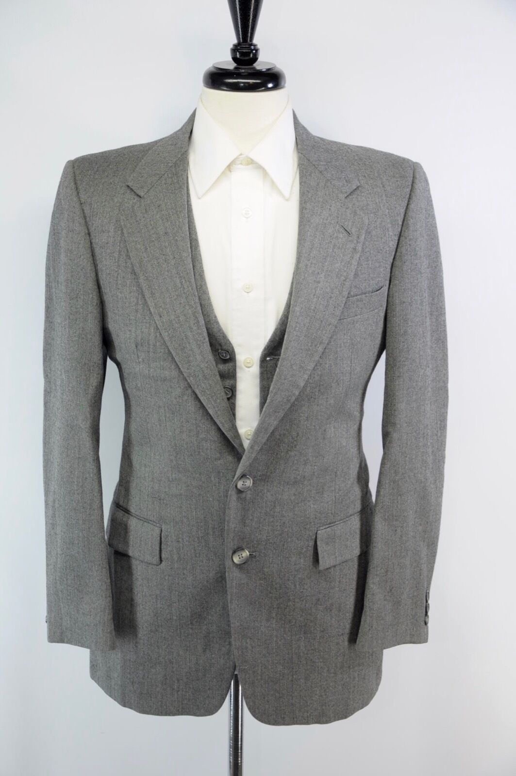 Eagle Clothes Herringbone Charcoal grau Wool Vest & Sport Coat 2 Piece Set 36R