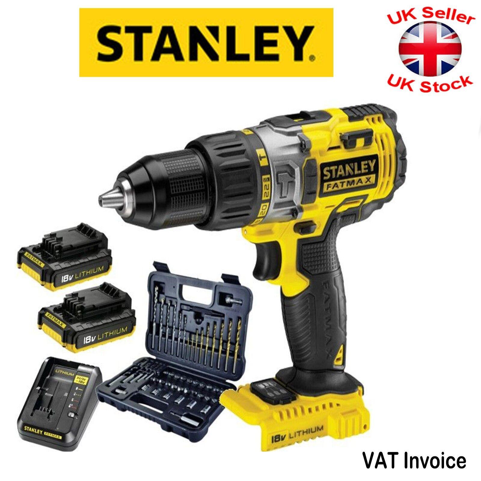 Stanley FatMax FMC625ARW1 Cordless Hammer Drill 2x Battery 18V + 50 pcs Bits Set