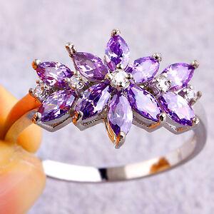 Flower-Graceful-Gift-Amethyst-amp-White-Topaz-Gemstone-Silver-Ring-Size-L-N-P-R-T