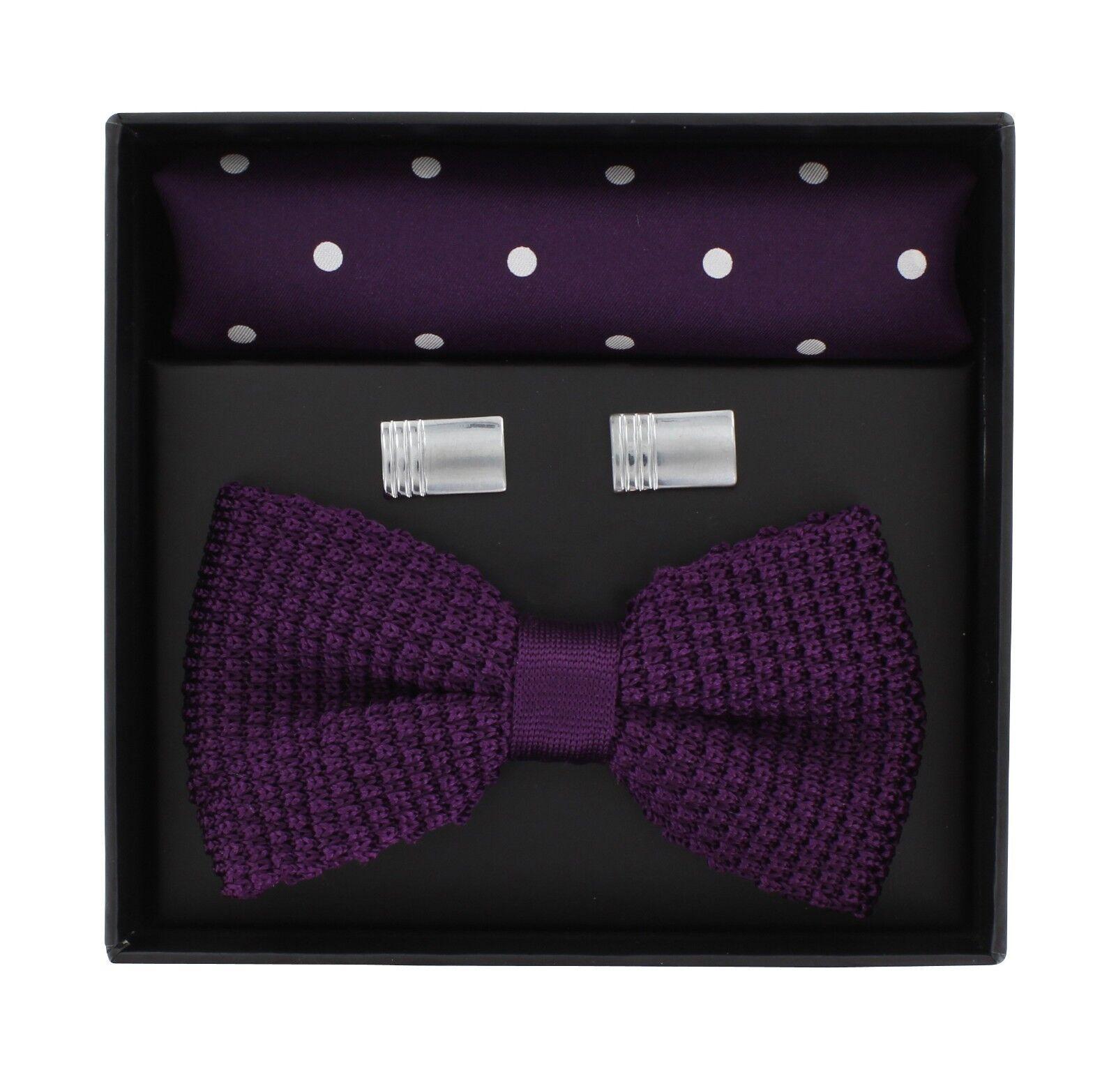 Purple Knitted Bow Tie, Purple Polka Dot Silk Pocket Square & Cufflink Gift Set