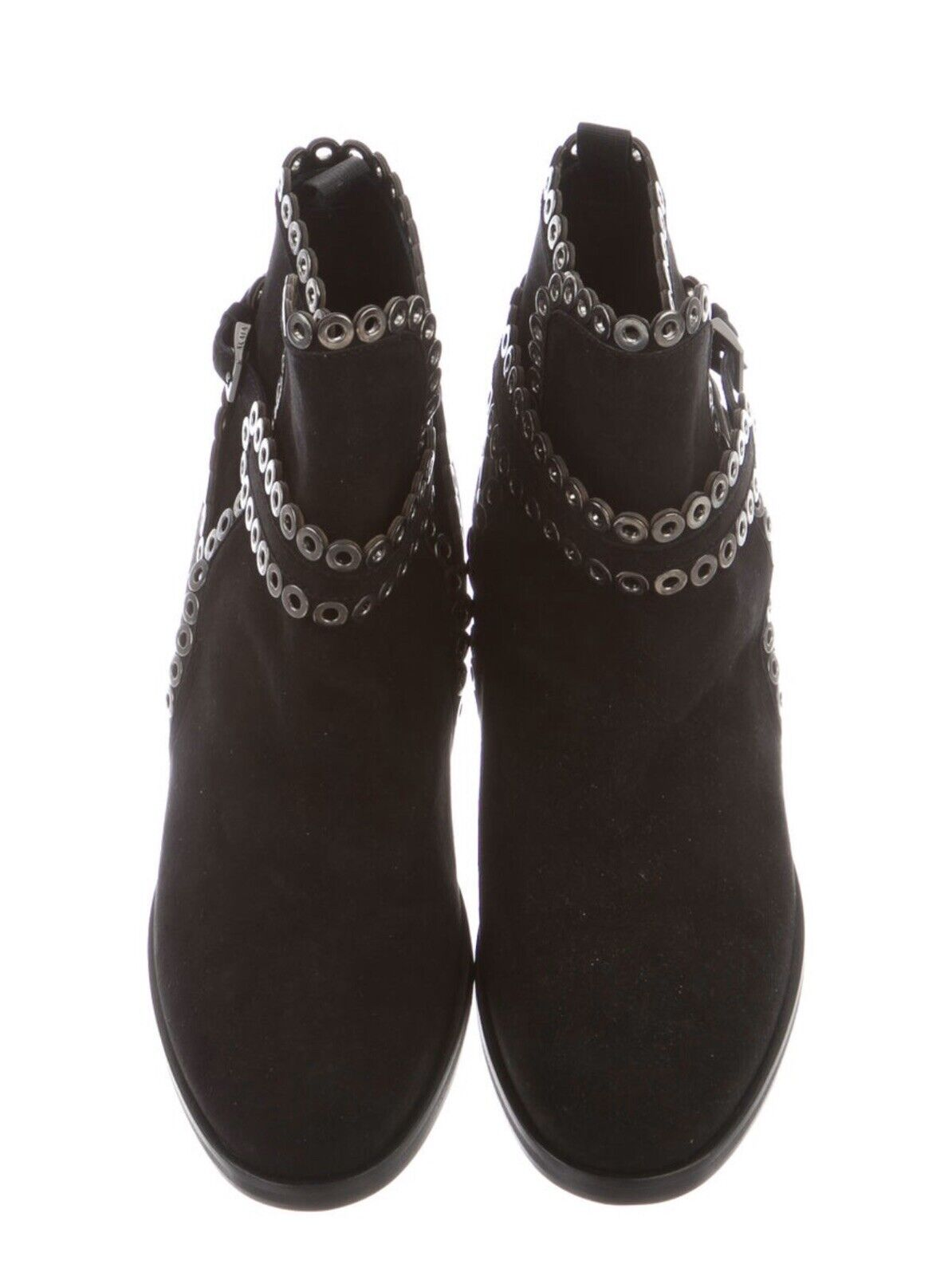 AZZEDINE ALAIA Black Suede Grommet Ankle Boots Si… - image 3