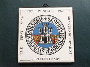 Vintage-Retro-Kitsch-Windsor-Septcentenary-1277-1977-Tile-Trivet-1970s-70s