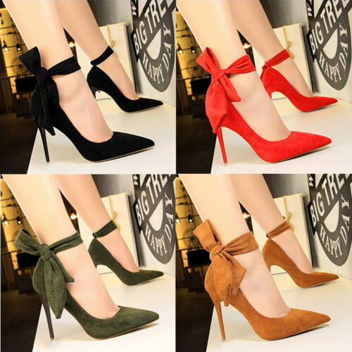 Ladies Womens Bow-Knot Pumps High Heels Pointy Toe Ankle Strap Wedding Shoes