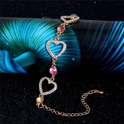"""Sublime Bracelet cristal autrichien /"""" 3 coeurs  /"""" doré à l/'or fin 24k"""