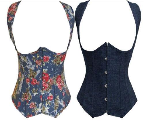 Elegant Demin Boned Underbust Corset Costumes S M L XL 2XL