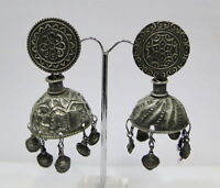 Antique ethnic tribal old silver jewelry earring pair from Rajasthan India.